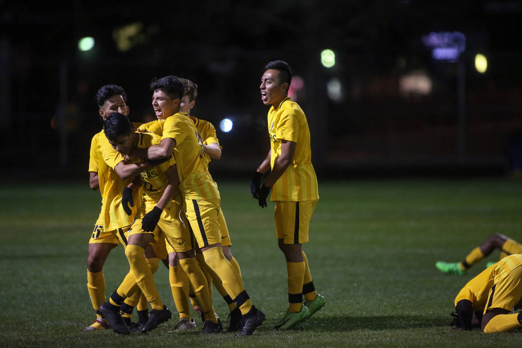 Clark High School celebrates a goal against Advanced Technologies Academy at the Bettye Wilson Soccer Complex in Las Vegas, Tuesday, Oct. 30, 2018. Caroline Brehman/Las Vegas Review-Journal