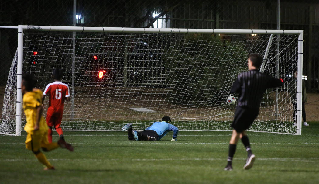 Clark High School scores a goal on Advanced Technologies Academy's Garcia-Benitez Yobani at the Bettye Wilson Soccer Complex in Las Vegas, Tuesday, Oct. 30, 2018. Caroline Brehman/Las Vegas Review ...