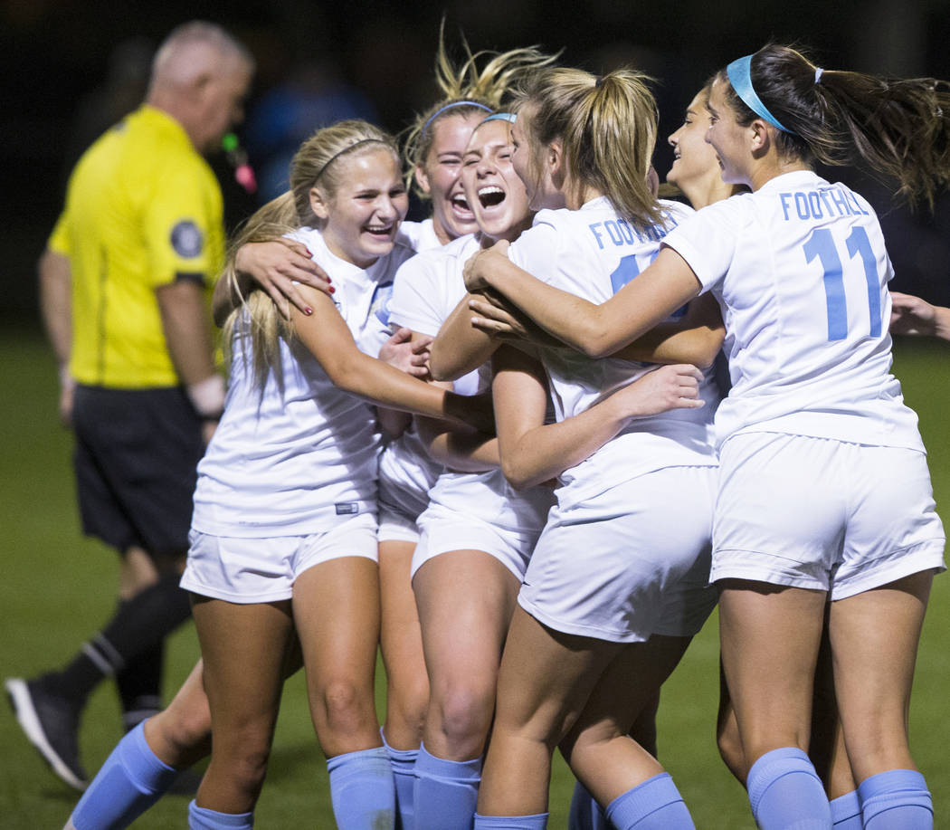 Foothill High School players celebrate after scoring a last second goal in the second half to beat Green Valley High School 4-3 on Wednesday, October 31, 2018, at Bettye Wilson Park, in Las Vegas. ...