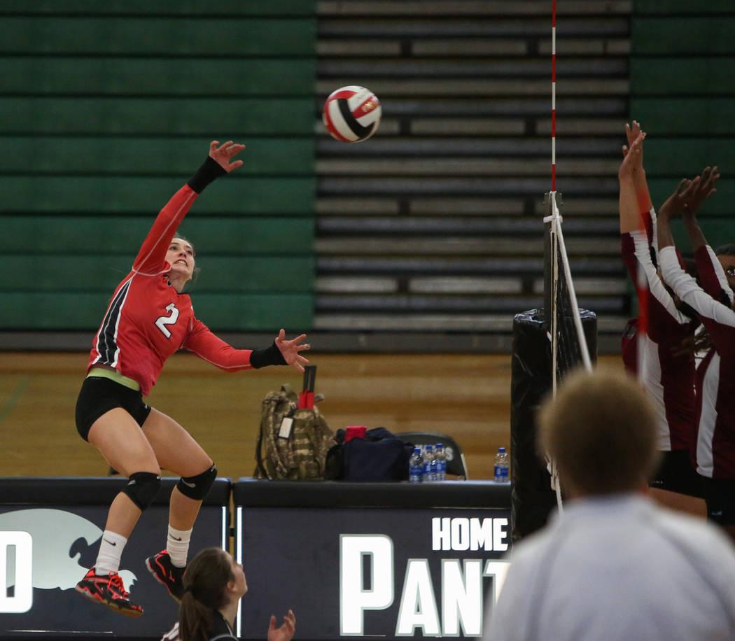 Las Vegas High School's Skyla Faught hits the ball over the net against Cimarron Memorial High School at the Summerlin Center in Las Vegas, Wednesday, Oct. 31, 2018. Caroline Brehman/Las Vegas Rev ...