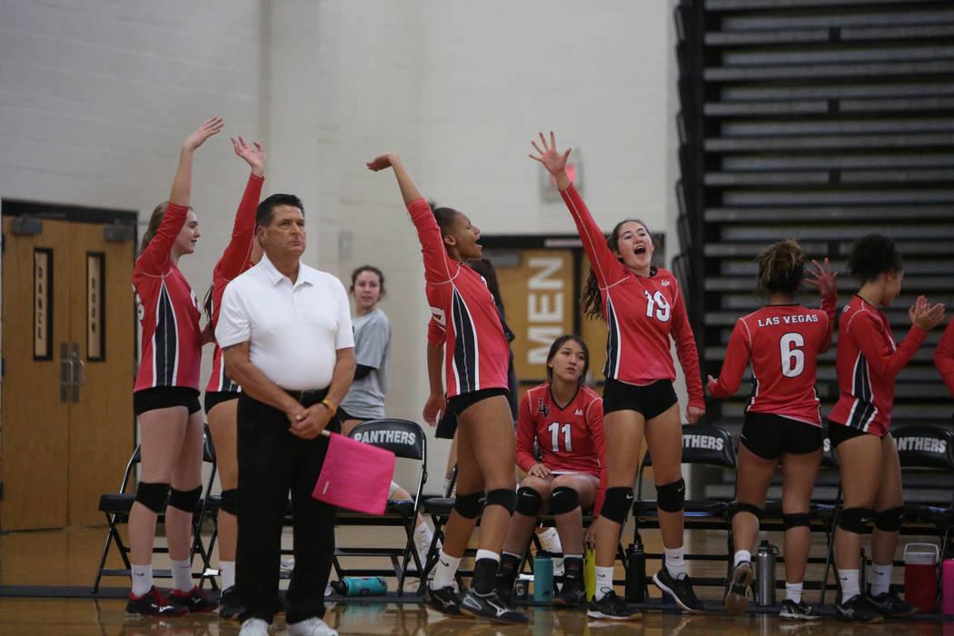 The Las Vegas High School Girls Varsity Volleyball team celebrates after winning a point against Cimarron Memorial High School at the Summerlin Center in Las Vegas, Wednesday, Oct. 31, 2018. Carol ...