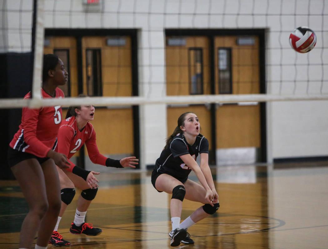 Las Vegas High School's Nicole Velez sends ball over the net in a game against Cimarron Memorial High School at the Summerlin Center in Las Vegas, Wednesday, Oct. 31, 2018. Caroline Brehman/Las Ve ...