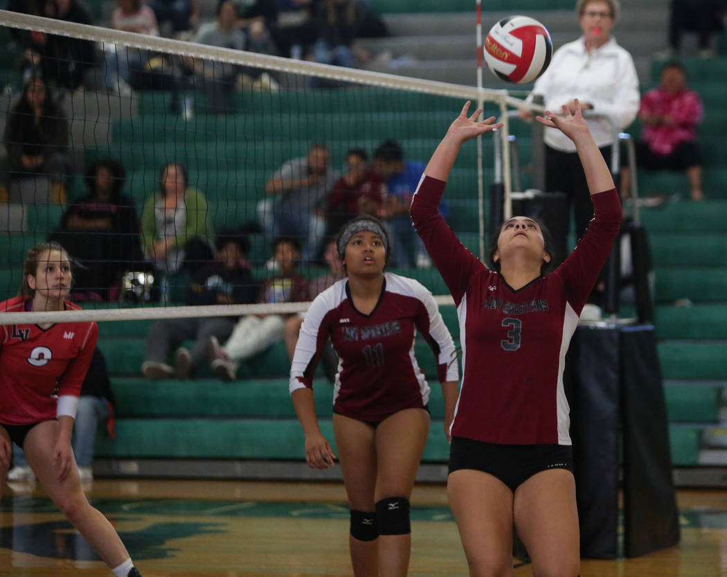 Cimarron Memorial High School's Destiny Garcia sets the ball during a game against Las Vegas High School at the Summerlin Center in Las Vegas, Wednesday, Oct. 31, 2018. Caroline Brehman/Las Vegas ...
