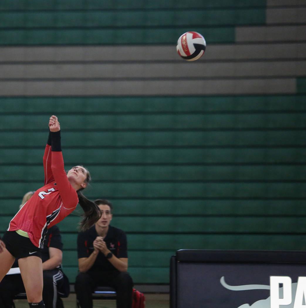 Las Vegas High School's Skyla Faught returns the ball in a game against Cimarron Memorial High School at the Summerlin Center in Las Vegas, Wednesday, Oct. 31, 2018. Caroline Brehman/Las Vegas Rev ...