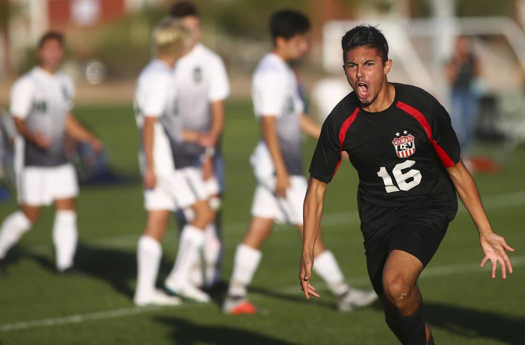 Las Vegas' Nathan Zamora (16) celebrates his goal against Palo Verde during the Mountain Region boys soccer semifinal match at the Bettye Wilson Soccer Complex in Las Vegas on Thursday, Nov. 1, 20 ...