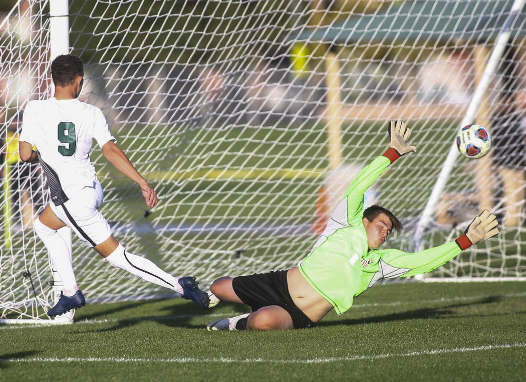 Palo Verde's Michael Vogel helps get a shot past Las Vegas' Rudy Gomez (1) to score a goal during the Mountain Region boys soccer semifinal match at the Bettye Wilson Soccer Complex in Las Vegas o ...