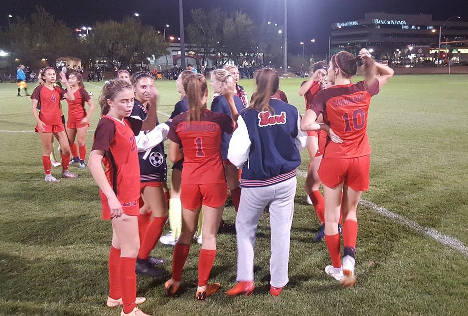 Coronado girls soccer celebrate after escaping with a 3-2 win over Desert Oasis in the Class 4A Mountain Region semifinals on Thursday at Bettye Wilson Complex. (W.G. Ramirez/Las Vegas Review-Journal)