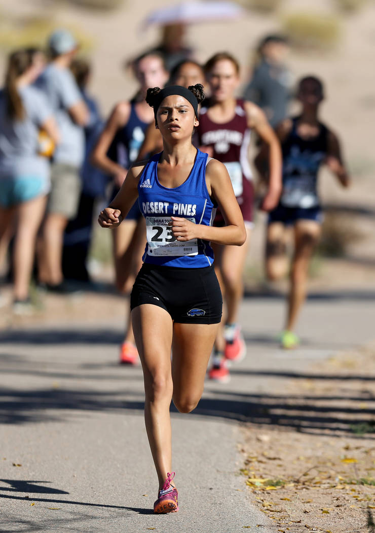 Desert Pines junior Jazmin Felix leads the 4A Mountain girls cross country region race at Veteran's Memorial Park in Boulder City Friday, Oct. 26, 2018. K.M. Cannon Las Vegas Review-Journal @KMCan ...