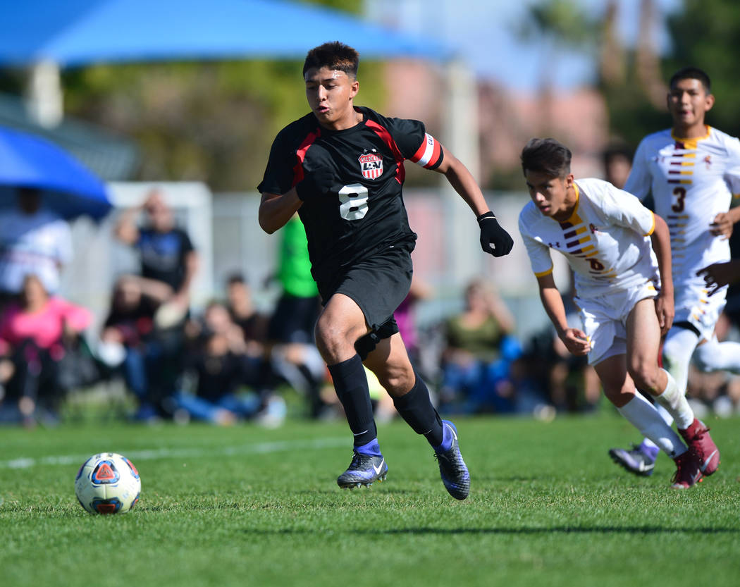 Las Vegas High School's Daniel Rangel (8) finds open space in the second half of the 3A Mountain Region Championship soccer game between Las Vegas High School and Eldorado High School in Las Vega ...