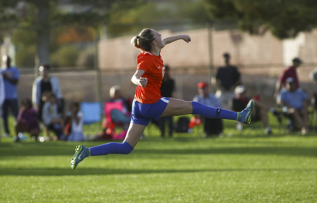 Bishop Gorman's Jacqueline Hillegas (23) celebrates her game-winning goal in a penalty shootout against Coronado in the Desert Region girls soccer championship game at Bettye Wilson Soccer Complex ...