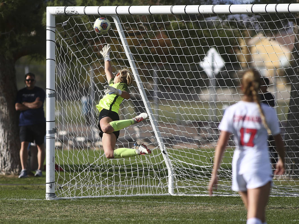 Coronado's Taylor Book gives up a goal to Bishop Gorman in the final moments of the Desert Region girls soccer championship game game at Bettye Wilson Soccer Complex in Las Vegas on Saturday, Nov. ...