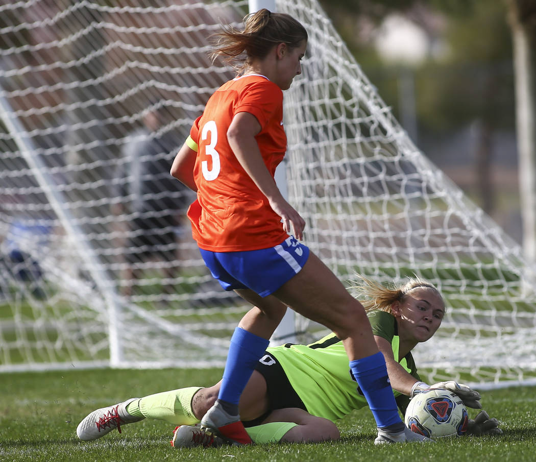 Coronado's Taylor Book blocks a shot by Bishop Gorman's Ashtyn Fink (3) during the Desert Region girls soccer championship game at Bettye Wilson Soccer Complex in Las Vegas on Saturday, Nov. 3, 20 ...