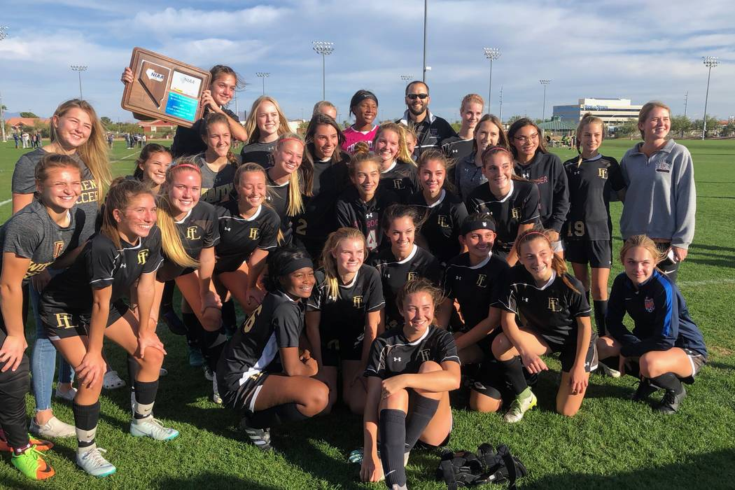 Faith Lutheran's girls soccer team celebrates winning the Mountain Region championship at Bettye Wilson Soccer Complex on Nov. 3, 2018 in Las Vegas. Justin Emerson/Las Vegas Review-Journal