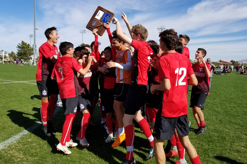 Coronado players celebrate their 3-0 victory over Durango in the Class 4A Desert Region championship game. (Damon Seiters/Las Vegas Review-Journal)