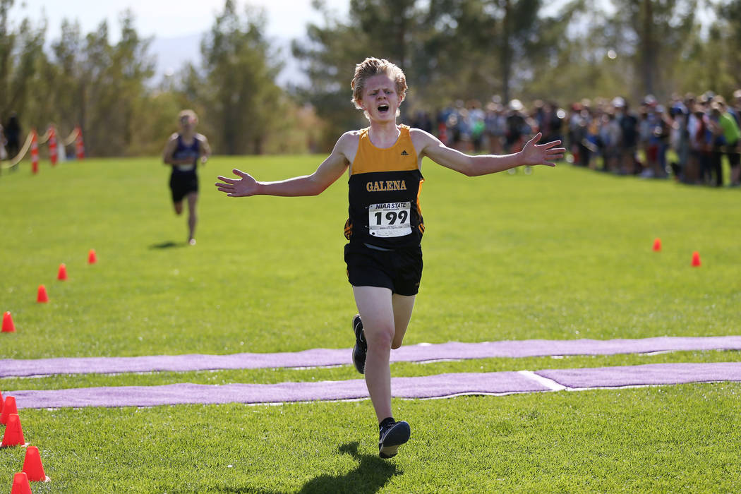 Matthew Gordon (199), a 16-year-old sophomore from Galena High School in Reno, runs for first place during the NIAA 4A Boys Cross Country State Championship at the Veteran's Memorial Park in Bould ...
