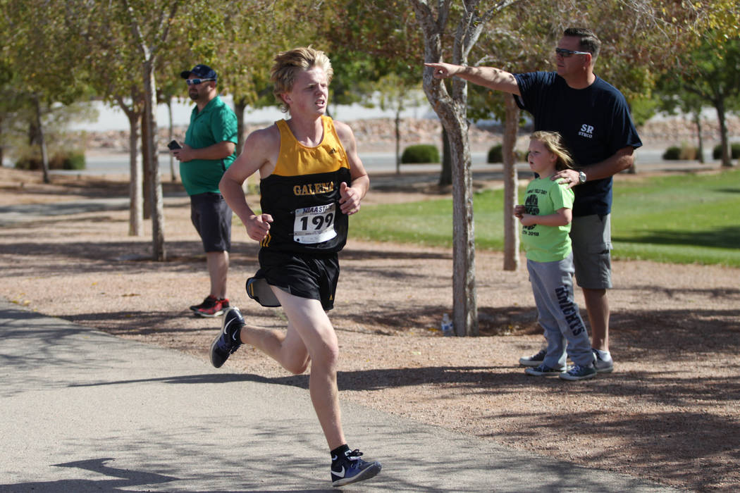Matthew Gordon (199), a 16-year-old sophomore from Galena High School in Reno, runs during the NIAA 4A Boys Cross Country State Championship at the Veteran's Memorial Park in Boulder City, Saturda ...