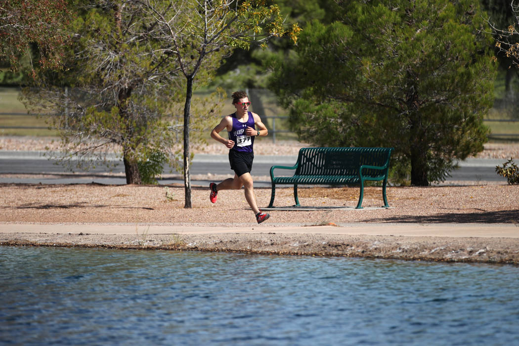 Spanish Springs' Daniel Horner (377) runs during the NIAA 4A Boys Cross Country State Championship at the Veteran's Memorial Park in Boulder City, Saturday, Nov. 3, 2018. Horner finished in second ...