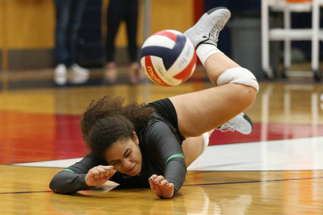 Palo Verde's Maeva Badio (5) misses the ball against Bishop Gorman during the third set of the girl's volleyball game at Coronado High School in Henderson, Saturday, Nov. 3, 2018. Bishop Gorman w ...