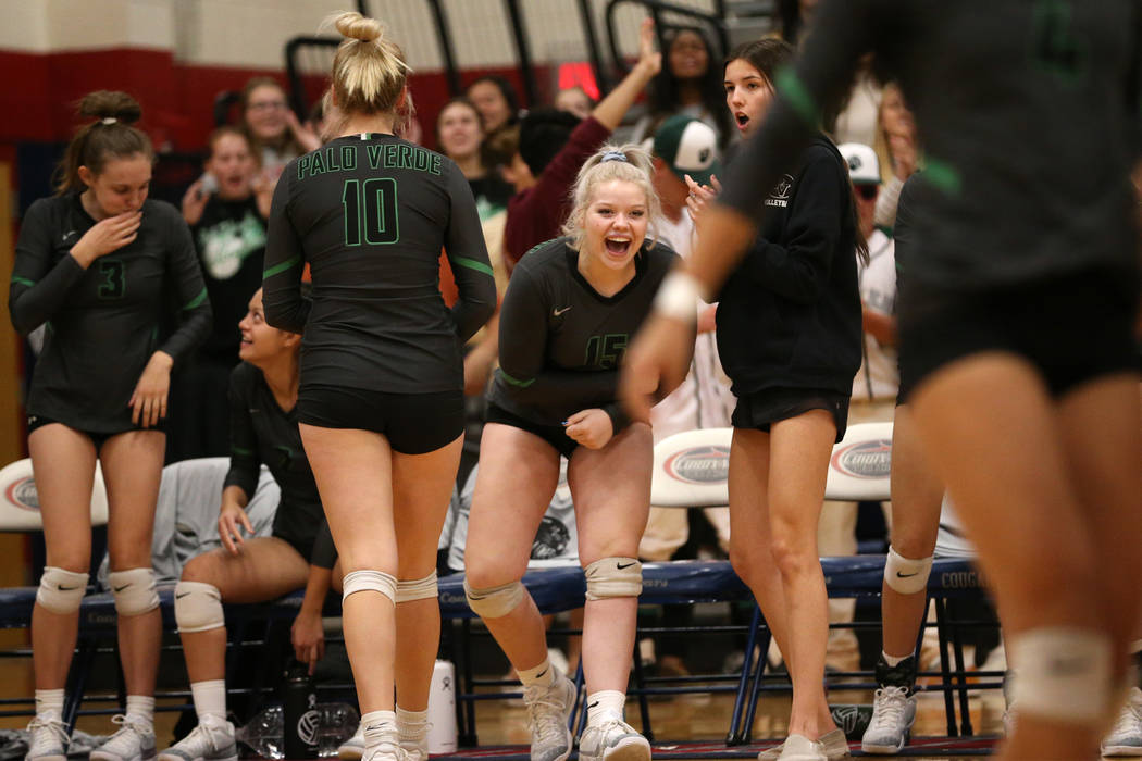 Palo Verde's Rilee Read (15) reacts from the bench after a play against Bishop Gorman during the third set of the girl's volleyball game at Coronado High School in Henderson, Saturday, Nov. 3, 201 ...