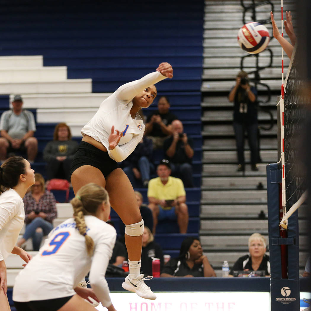Bishop Gorman's Alexandria Washington (1) connects with the ball against Palo Verde during the second set of the girl's volleyball game at Coronado High School in Henderson, Saturday, Nov. 3, 2018 ...