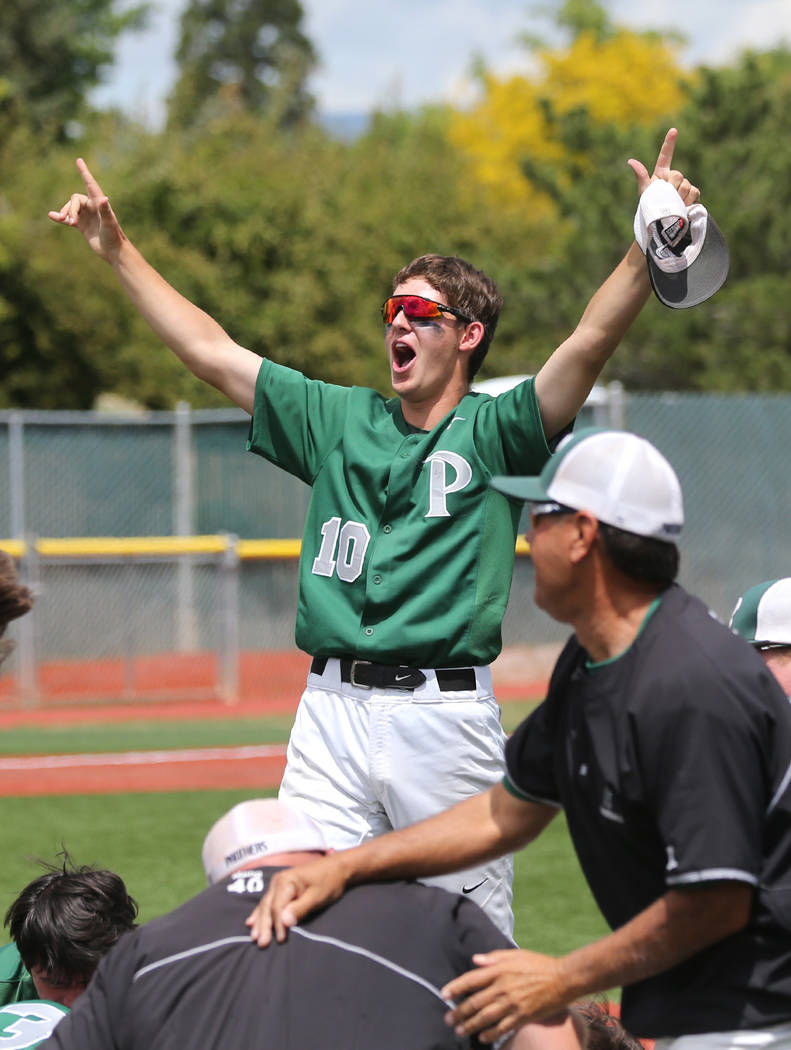 Palo Verde's Nickolai Zuppas celebrates with teammates after their 4-2 win over Basic for the NIAA 4A baseball championship in Reno, Nev., on Saturday, May 19, 2018. Cathleen Allison/Las Ve ...
