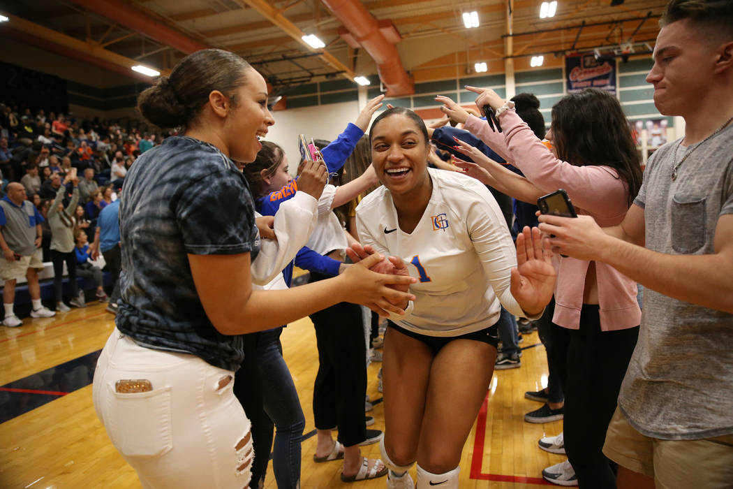 Bishop Gorman Alexandria Washington (1) celebrates with her team after their victory 3-0 against Palo Verde in the girl's volleyball game at Coronado High School in Henderson, Saturday, Nov. 3, 20 ...