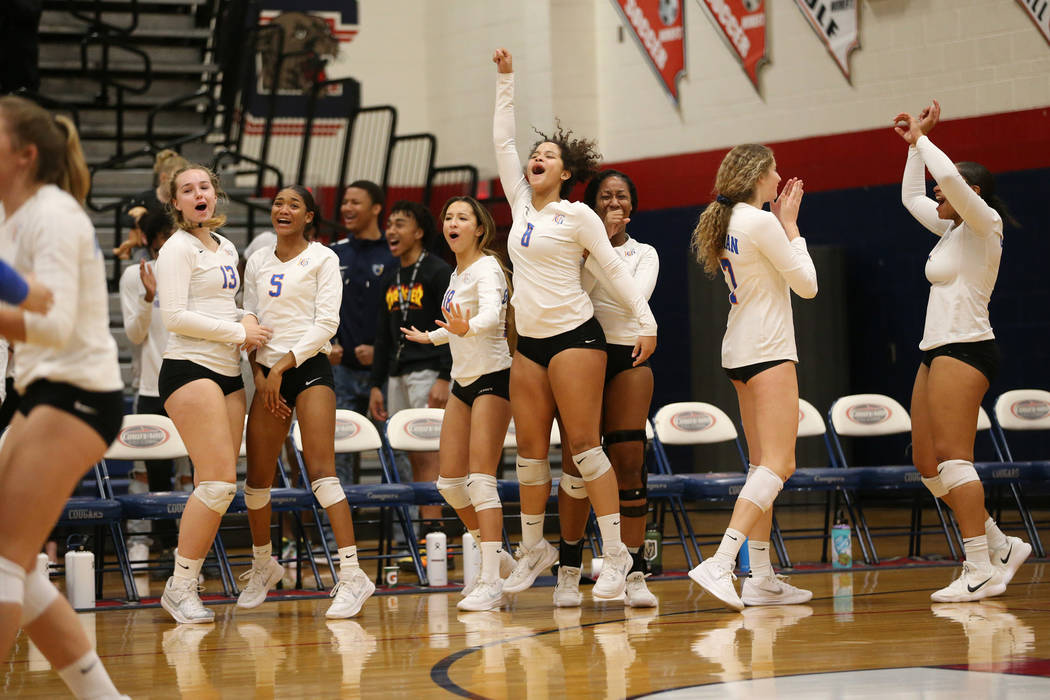 The Bishop Gorman bench reacts after a play against Palo Verde during the third set of the girl's volleyball game at Coronado High School in Henderson, Saturday, Nov. 3, 2018. Bishop Gorman won 3 ...