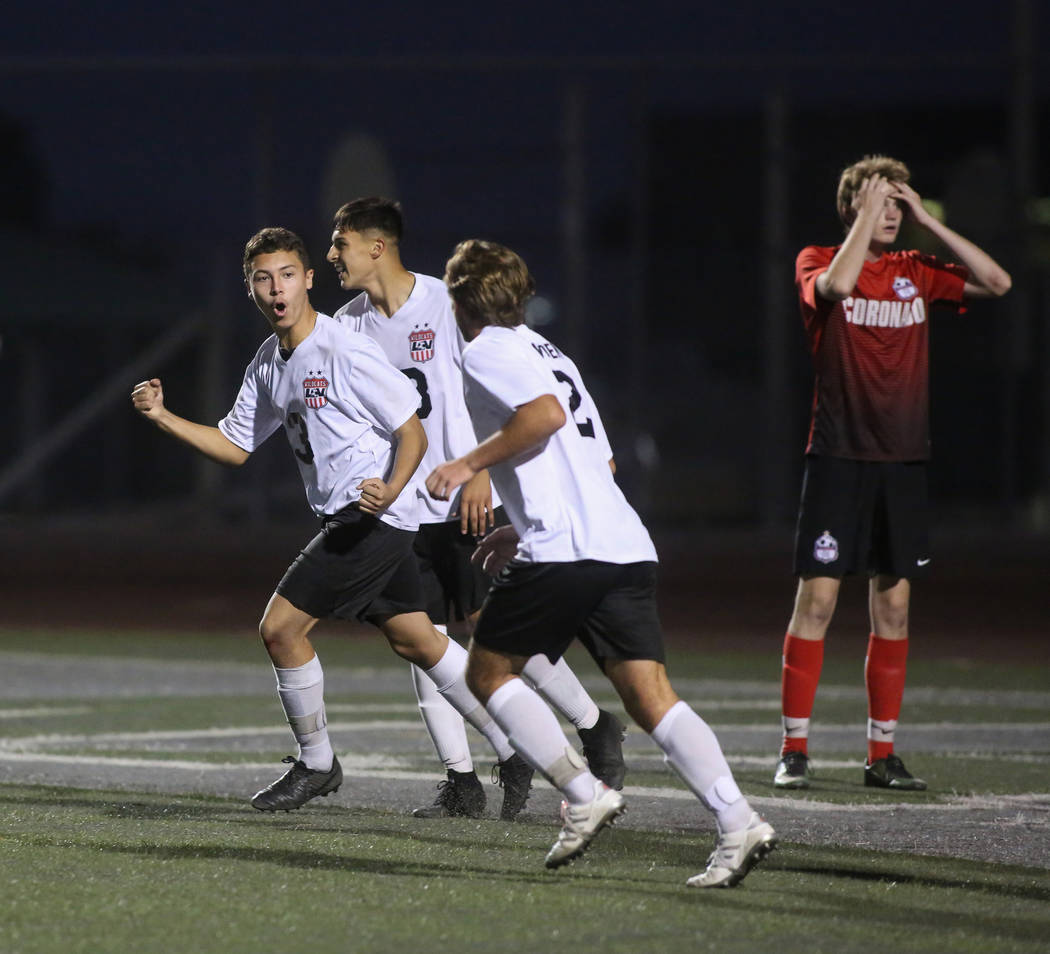Las Vegas' Carlos Sanchez (3) celebrates after scoring against Coronado during the Southern Nevada boys soccer championship at Rancho High School in Las Vegas, Monday, Nov. 5, 2018. Caroline Brehm ...