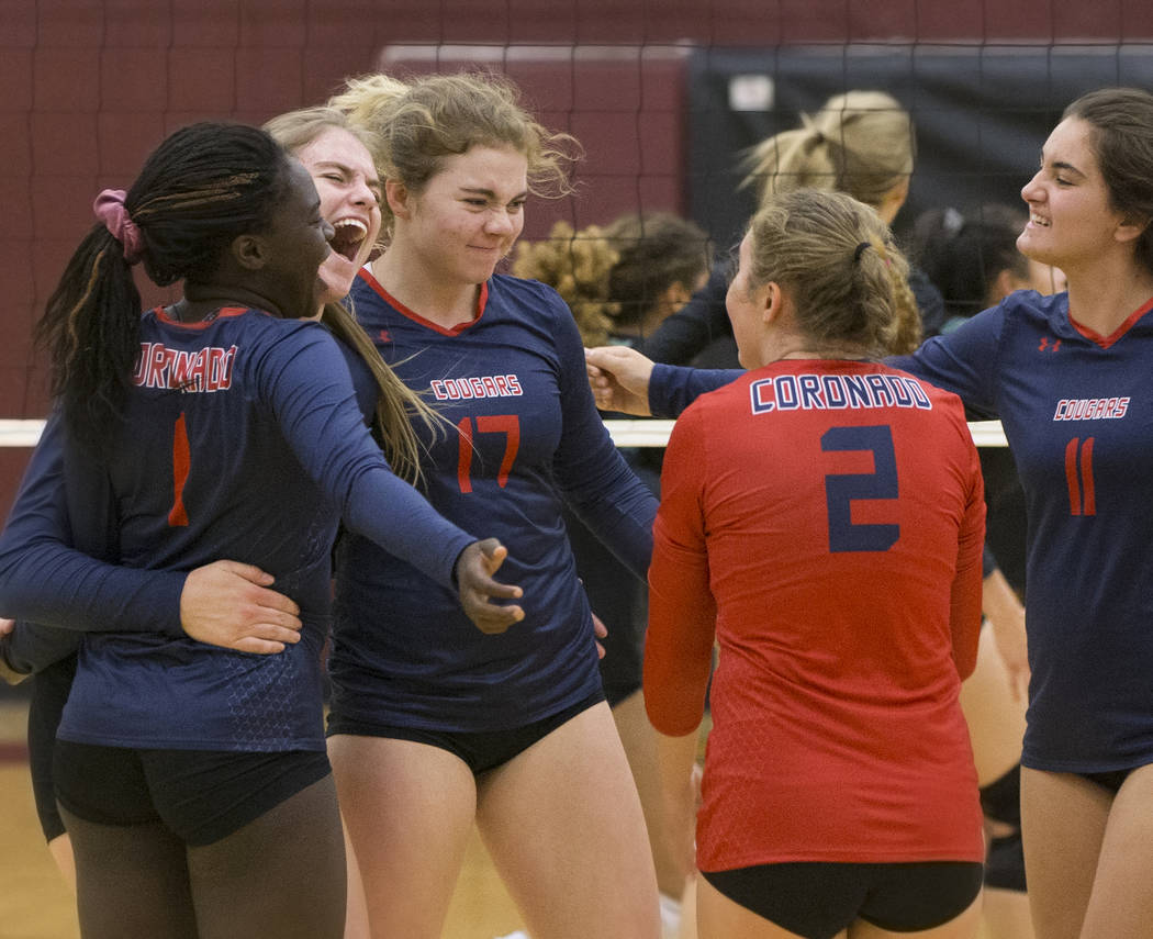 Coronado celebrates after winning a point during the Class 4A state volleyball quarterfinal on Monday, November 5, 2018, at Eldorado High School, in Las Vegas. Benjamin Hager Las Vegas Review-Journal