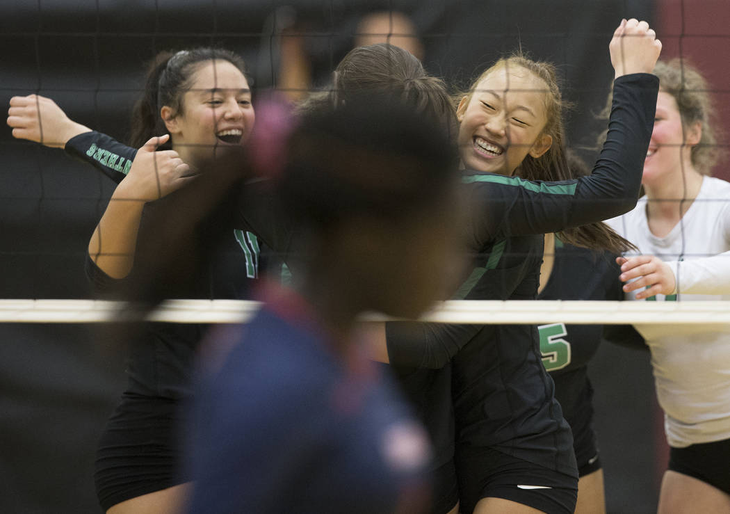 Palo Verde freshman Kaila Yang (4) celebrates with teammates after scoring a point against Coronado during the Class 4A state volleyball quarterfinal on Monday, November 5, 2018, at Eldorado High ...
