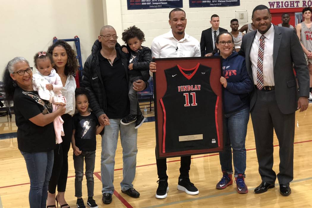 Los Angeles Clippers guard and former Findlay Prep star poses for a photo during his jersey retirement ceremony at Henderson International School on Tuesday, Nov. 6, 2018. Sam Gordon/Las Vegas-Rev ...