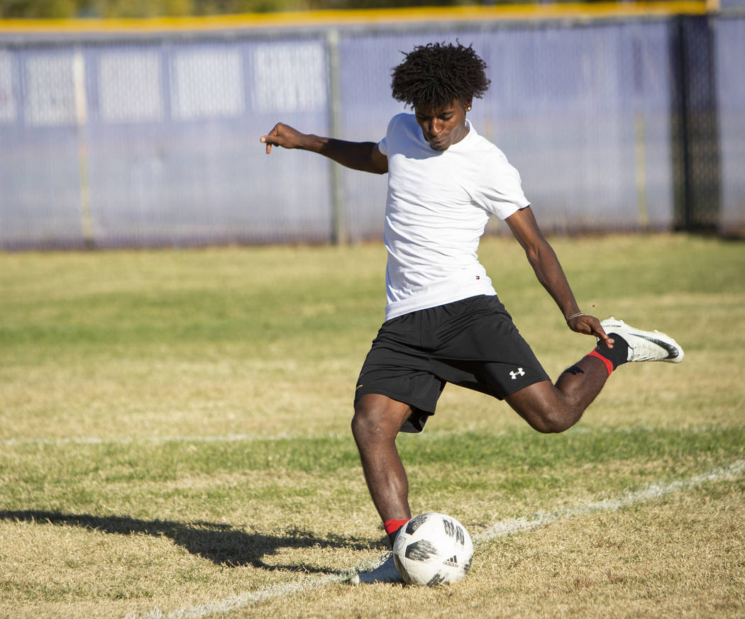 Durango's senior forward Tyson Tesfamarian takes a shot on goal during a soccer practice at Durango High School in Las Vegas, Wednesday, Nov. 7, 2018. Caroline Brehman/Las Vegas Review-Journal
