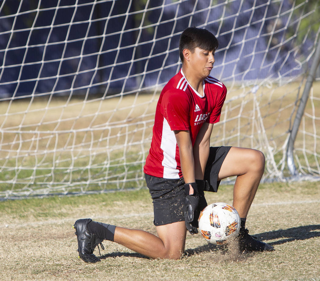 Durango's sophomore goalkeeper Jason Sotelo blocks a shot on goal during a soccer practice at Durango High School in Las Vegas, Wednesday, Nov. 7, 2018. Caroline Brehman/Las Vegas Review-Journal
