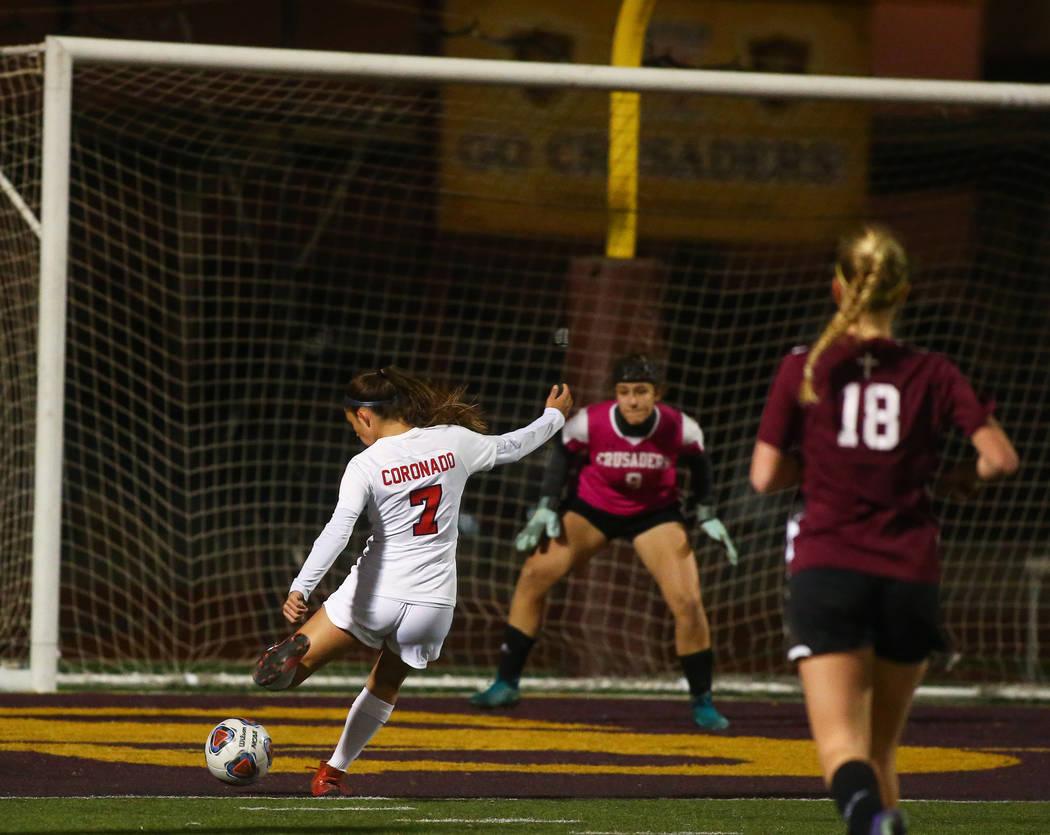 Corando's Alexis Pashales (7) takes a shot on goal against Faith Lutheran's Mesalic during the state quarterfinal game at Faith Lutheran High School in Las Vegas, Thursday, Nov. 8, 2018. Caroline ...
