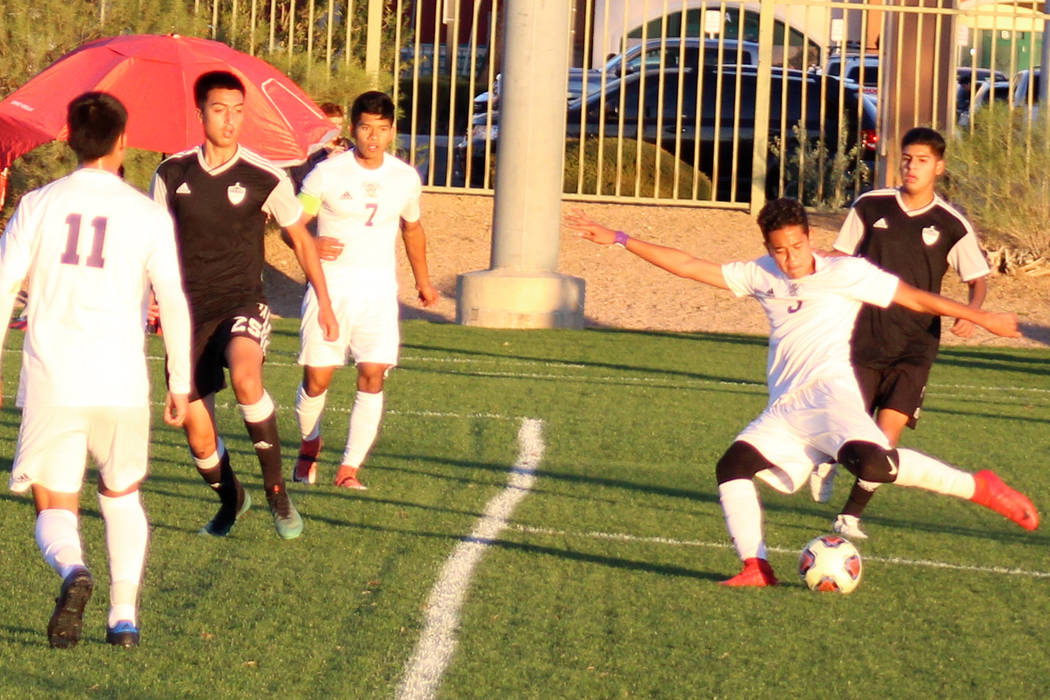 Sunrise Mountain's Estiben Olandez takes a shot during his team's Class 3A state semifinal game against North Valleys on Friday, Nov. 9, 2018 at Bettye Wilson Soccer Complex in Las Vegas. Tim Gues ...