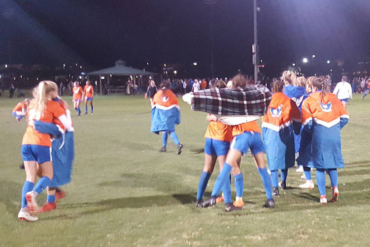 Defending state champion Bishop Gorman celebrates after a 3-2 win over Palo Verde in the Class 4A state semifinal against Bishop Gorman on Friday, Nov. 9, 2018 at Bettye Wilson Sports Complex in L ...