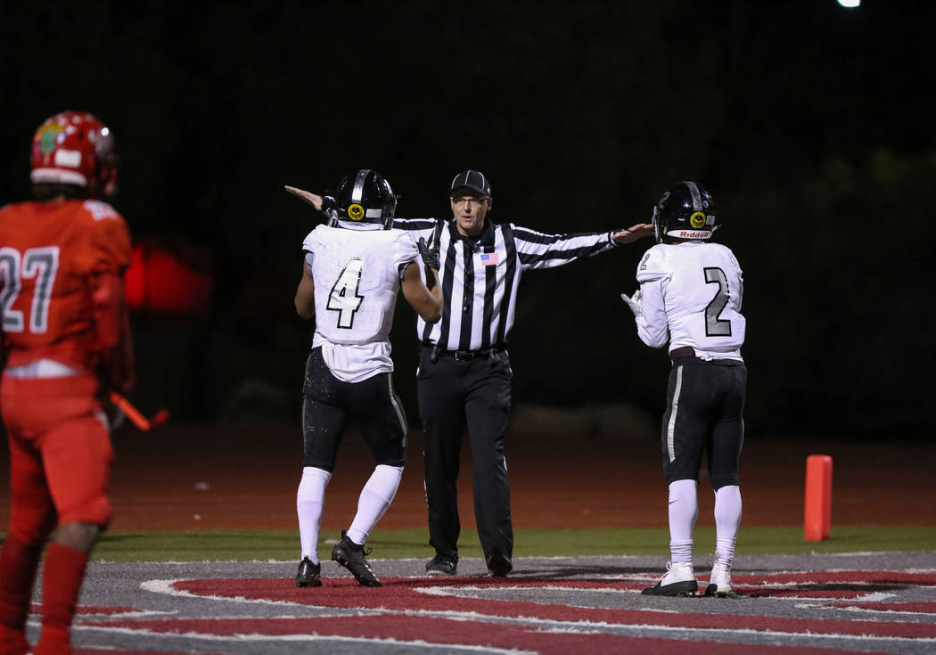 Desert Pines gets told their touchdown is incomplete during second half of the Mountain Region football semifinal game at Arbor View High School in Las Vegas, Friday, Nov. 9, 2018. Caroline Brehma ...