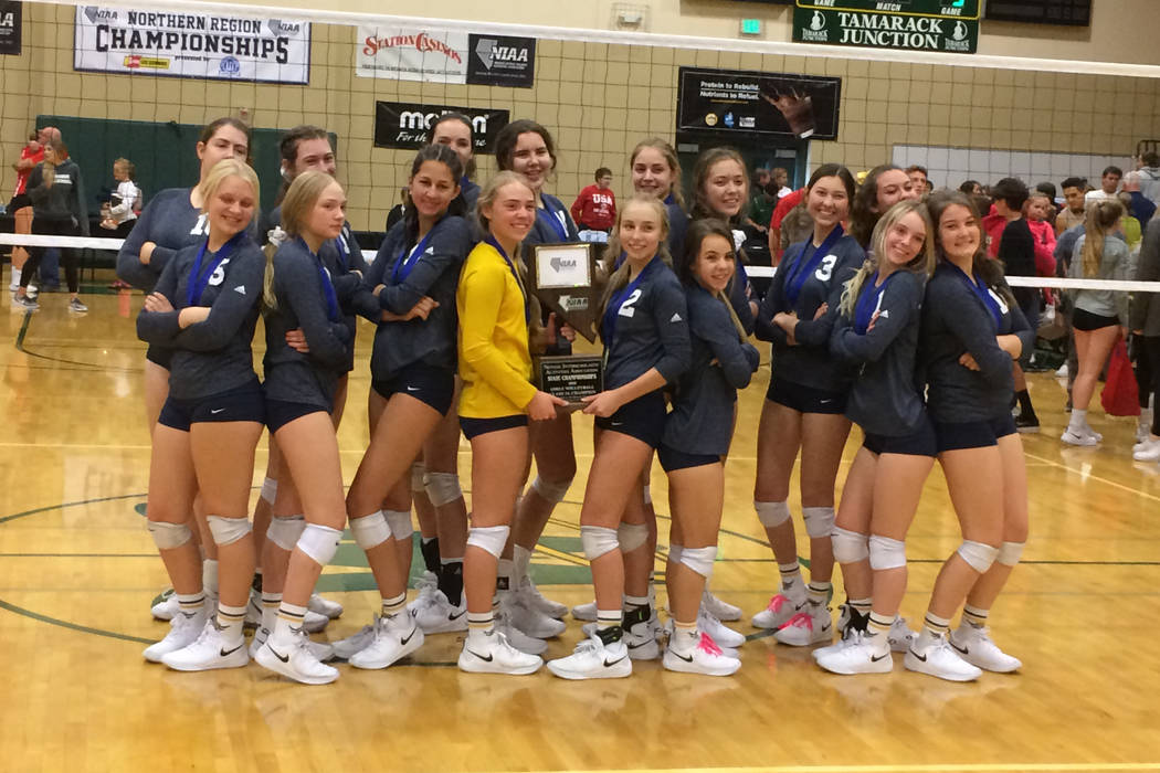 Boulder City's girls volleyball team poses after winning the Class 3A state championship on Saturday, Nov. 10, 2018 at Bishop Manogue Catholic High School in Reno. Robert Perea/Las Vegas Review-Jo ...