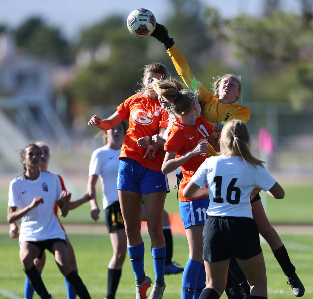 Galena's goalkeeper Ava Gotchi (1) blocks the ball against Bishop Gorman in the second half of the 4A girls state soccer championship game at the Bettye Wilson Soccer Complex in Las Vegas, Saturda ...