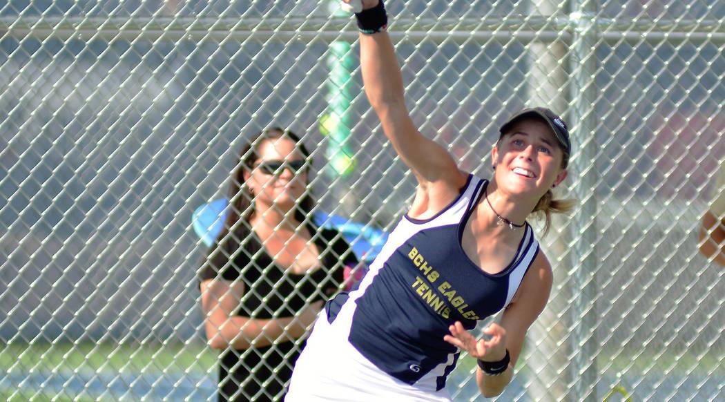 Robert Vendettoli/Boulder City Review Boulder City High School junior Olivia Mikkelson won her matches 2-1 Thursday, Aug. 23, against The Meadows.