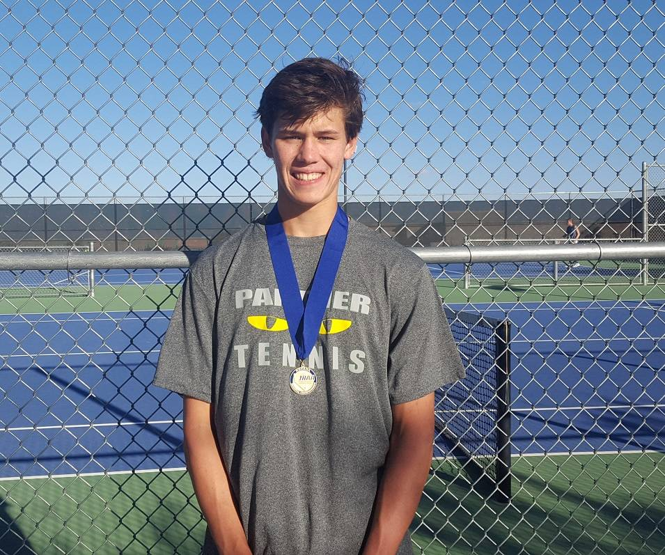 Palo Verde's Michael Andre breezed to a 6-0, 6-0 victory over Faith Lutheran's Kenny Dobrev in the Mountain Region boys singles final at Bishop Gorman. W.G. Ramirez/Las Vegas Review-Journal