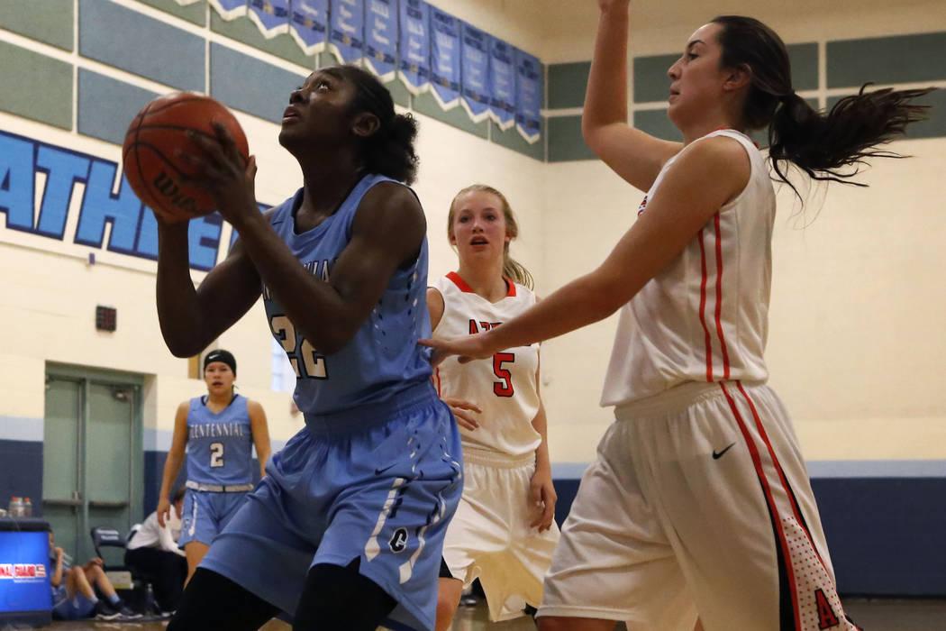 Centennial's Eboni Walker (22) shoots during a high school basketball game at the Las Vegas Holiday Classic on Wednesday, Dec. 28, 2016, in Las Vegas. (Christian K. Lee/Las Vegas Review-Jou ...