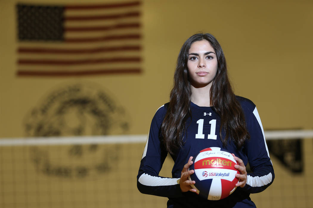 Dani Mason, 18, captain for The Meadows girl's varsity volleyball team, poses for a portrait at The Meadows School in Las Vegas, Tuesday, Oct. 9, 2018. Erik Verduzco Las Vegas Review-Journal @Erik ...