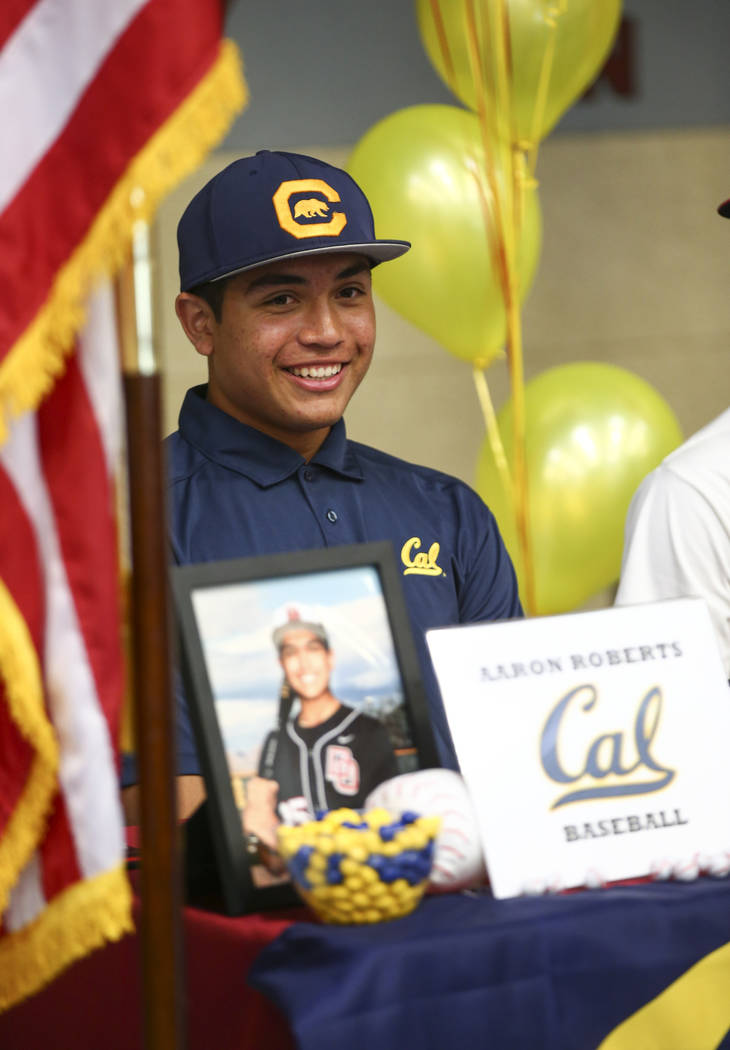 Desert Oasis baseball player Aaron Roberts with teammates after signing a letter of intent for Cal at Desert Oasis High School in Las Vegas on Wednesday, Nov. 14, 2018. Chase Stevens Las Vegas Rev ...