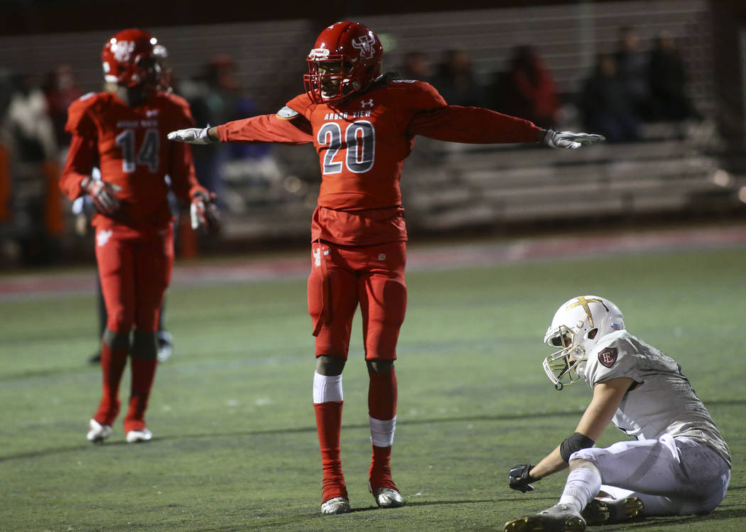Arbor View's Rickie Davis (20) reacts after blocking a pass intended for Faith Lutheran's Noah Vernon (1) during the second half of the Class 4A Mountain Region championship game at Arbor View Hig ...