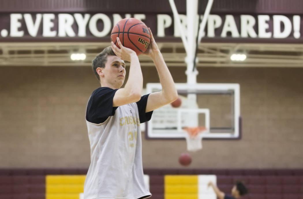 Faith Lutheran senior guard Brevin Walter shoots a three point shot during practice on Monday, Nov. 19, 2018, at Faith Lutheran High School, in Las Vegas. Benjamin Hager Las Vegas Review-Journal