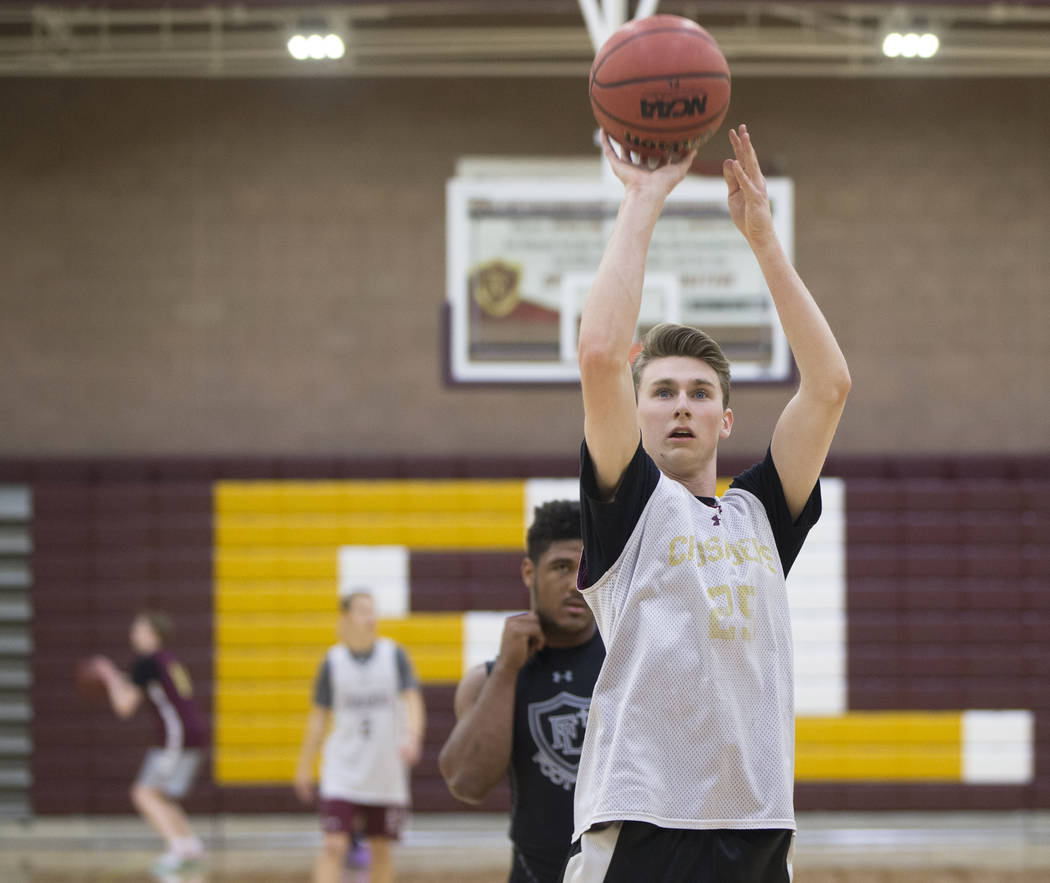 Faith Lutheran senior guard Brevin Walter shoots free throws during practice on Monday, Nov. 19, 2018, at Faith Lutheran High School, in Las Vegas. Benjamin Hager Las Vegas Review-Journal