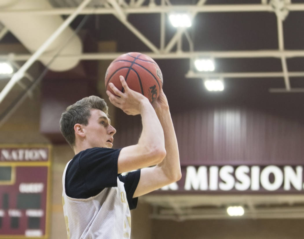 Faith Lutheran senior guard Brevin Walter shoots a corner three during practice on Monday, Nov. 19, 2018, at Faith Lutheran High School, in Las Vegas. Benjamin Hager Las Vegas Review-Journal