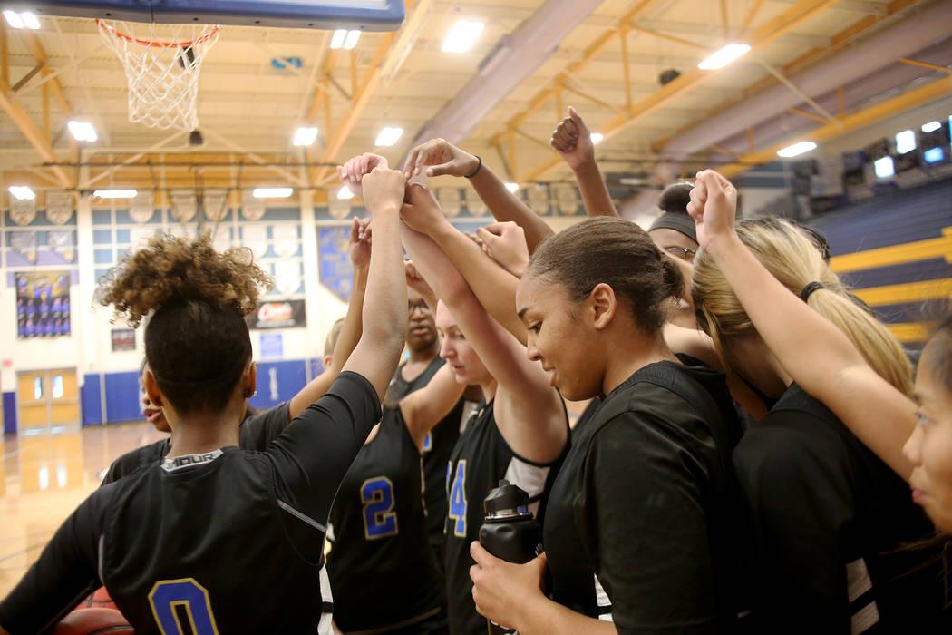 Sierra Vista High School's girls basketball varsity team cheers together in a huddle during practice at Sierra Vista High School in Las Vegas, Monday, Nov. 26, 2018. Rachel Aston Las Vegas Review- ...