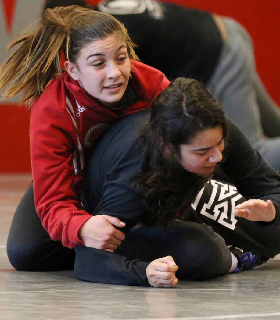 Arbor View's High School wrestler Peyton Prussin, left, wrestles Isabela Luna during their practice on Tuesday, Nov. 20, 2018, in Las Vegas. Bizuayehu Tesfaye/Las Vegas Review-Journal @bizutesfaye